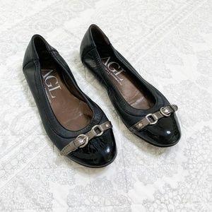 AGL Black Leather Patent Toe Ballet Flats 37.5